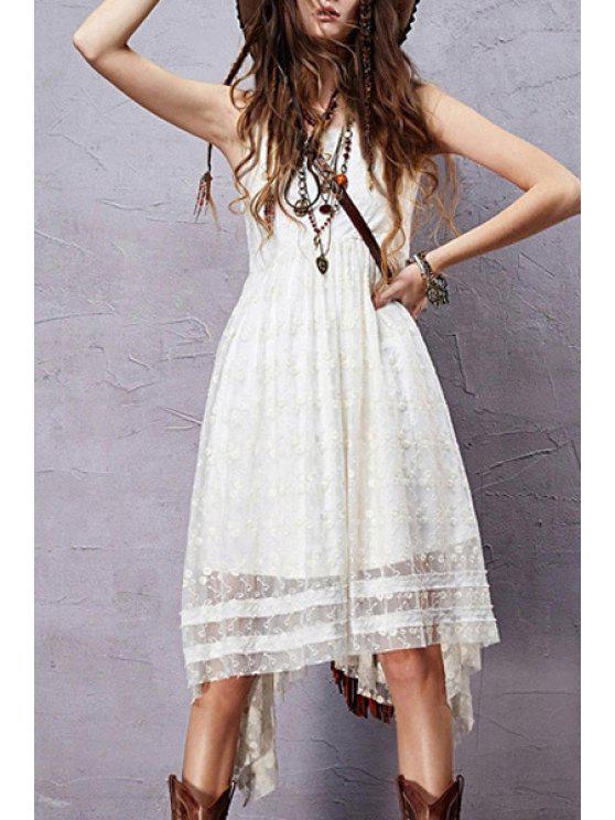 Sleeveless Embroidered Irregular Hem Dress - Blanco L