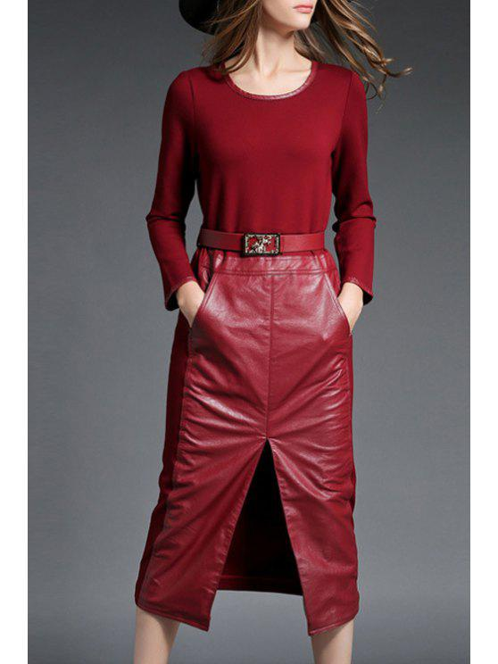 best PU Leather Spliced Long Sleeve Front Slit Dress - RED L