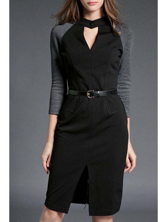 الجبهة شق شق الوقوف الرقبة قطع اللون كتلة اللباس - أسود XL