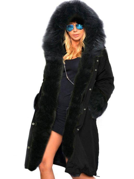 fashion Hooded Faux Fur Trim Parka Coat - BLACK L