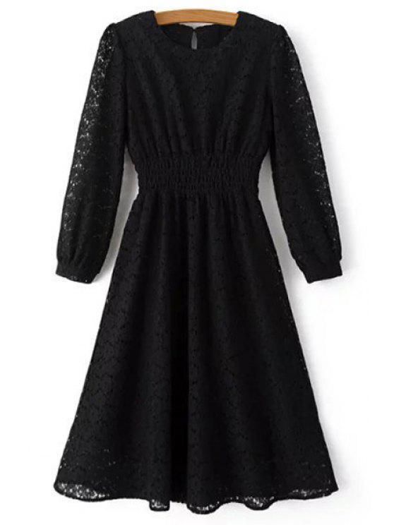 ladies Lace Round Neck Long Sleeve Midi Dress - BLACK L