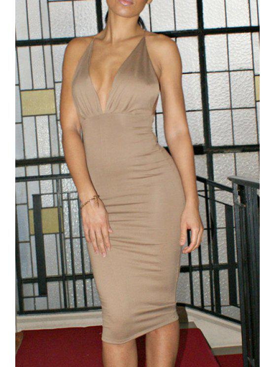 unique Backless Plunging Neck Solid Color Spaghetti Strap Dress - LIGHT GRAY M
