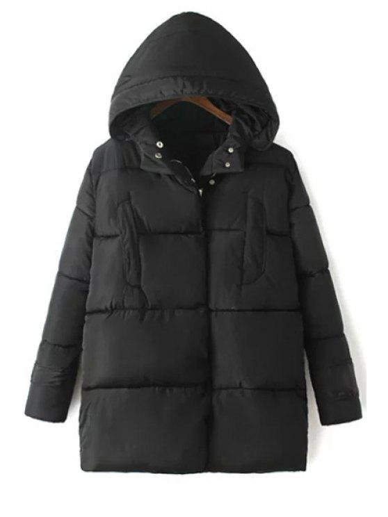 outfits Solid Color Hooded Long Sleeve Padded Coat - BLACK L