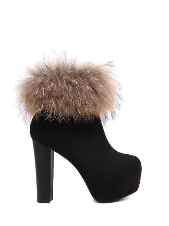 0b4a9bc9ed4 Faux Fur Platform Black High Heel Boots BLACK