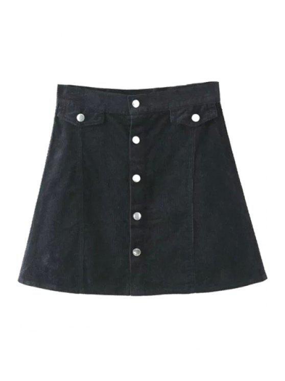 ladies Single-Breasted Corduroy A Line Skirt - BLACK S