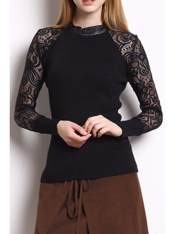 affordable Long Sheer Sleeve Black T-Shirt - BLACK M