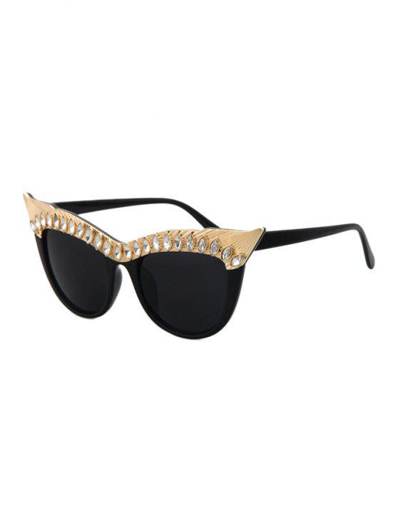 buy Rhinestone Cat Eye Sunglasses - BLACK
