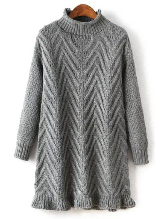 outfits Ruffled Hem Mock Neck Solid Color Sweater - GRAY ONE SIZE(FIT SIZE XS TO M)