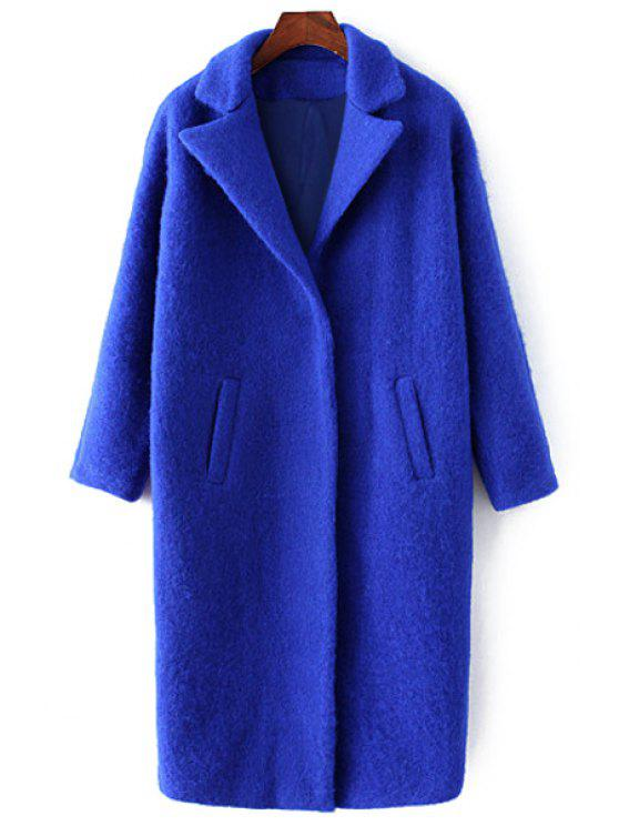 buy Pockets Pure Color Lapel Collar Wool Coat - SAPPHIRE BLUE M