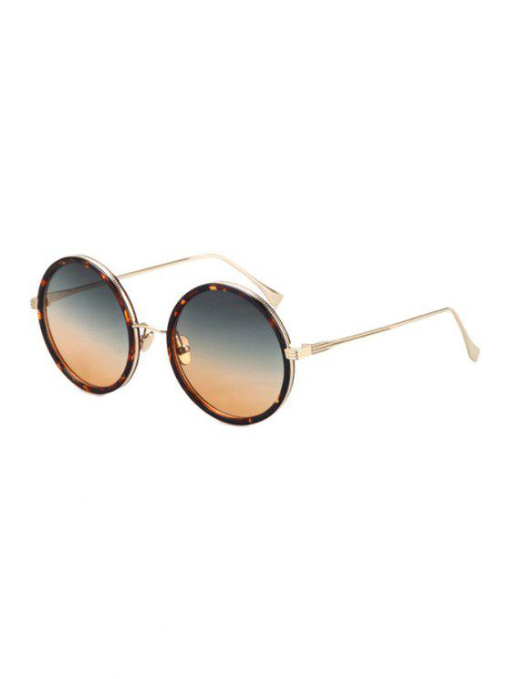 sale Retro Leopard Metal Round Sunglasses - COLORMIX