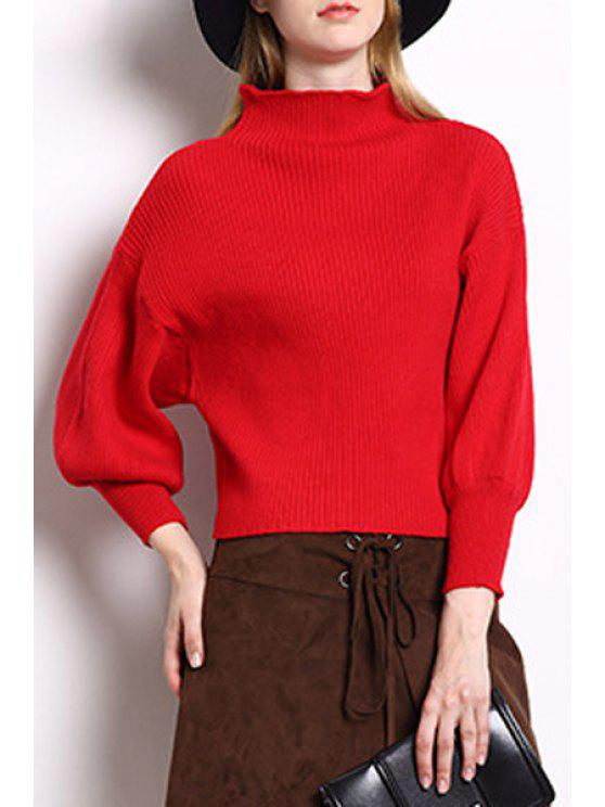 36% OFF  2019 High Collar Puff Sleeve Loose Sweater In RED ONE SIZE ... 26591b450