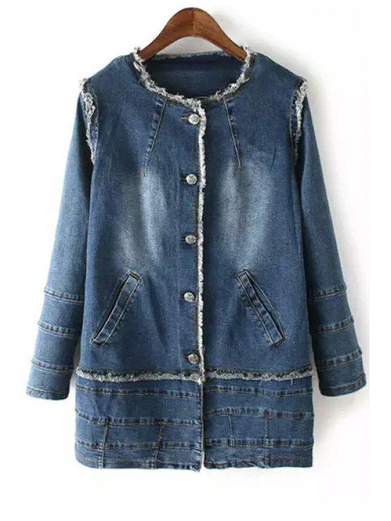 women's Denim Jewel Neck Long Sleeve Coat - DEEP BLUE S