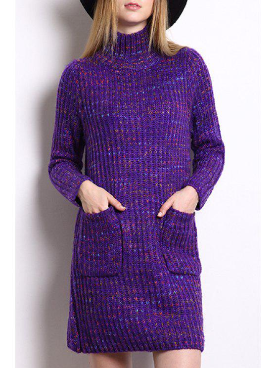 outfits Turtle Neck Multicolored Sweater Dress - PURPLE ONE SIZE(FIT SIZE XS TO M)