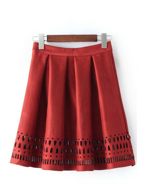 new Hollow Out A Line Skirt - RED S