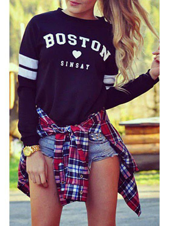 women's Letter Round Neck Long Sleeve Sweatshirt - BLACK S