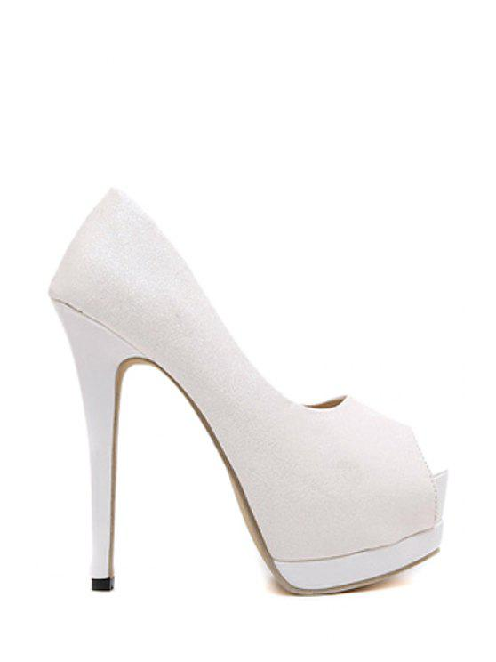 affordable Sequined Cloth Platform Peep Toe Shoes - WHITE 38