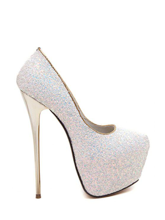 ladies Sequined Cloth Platform Stiletto Heel Pumps - WHITE 40