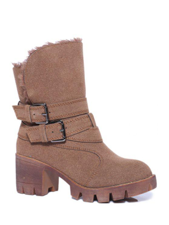 chic Double Buckles Stitching Chunky Heel Short Boots - BROWN 35