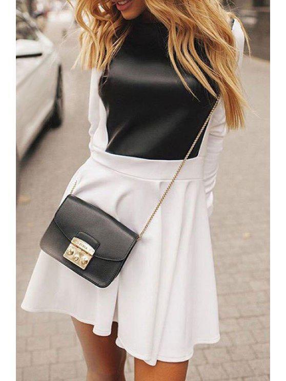 Vestido de invierno PU combinado - Blanco L
