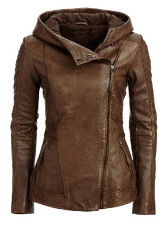 women's Hooded Zip Pockets PU Leather Jacket - COFFEE L