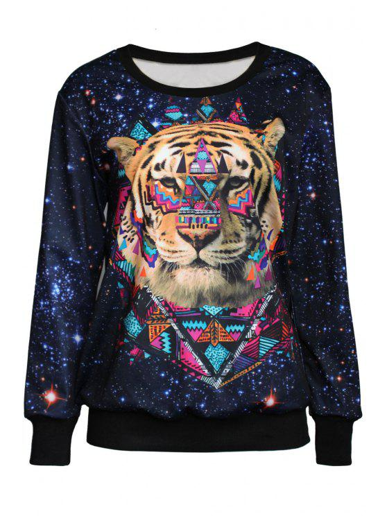 shop Tiger Print Jewel Neck Long Sleeve Sweatshirt - BLACK ONE SIZE(FIT SIZE XS TO M)