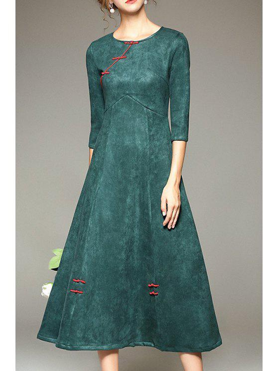 fancy Pure Color Vintage 3/4 Sleeve Dress - GREEN S