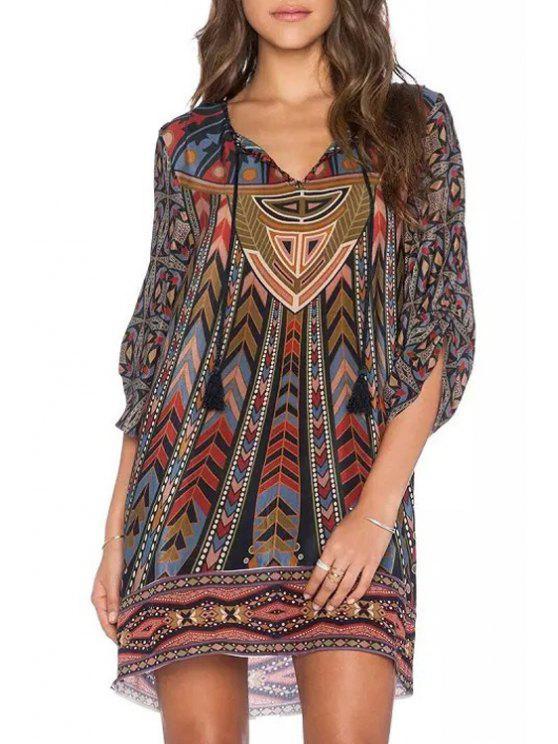 lady Lace Up 3/4 Sleeve V-Neck Retro Print Dress - COLORMIX L