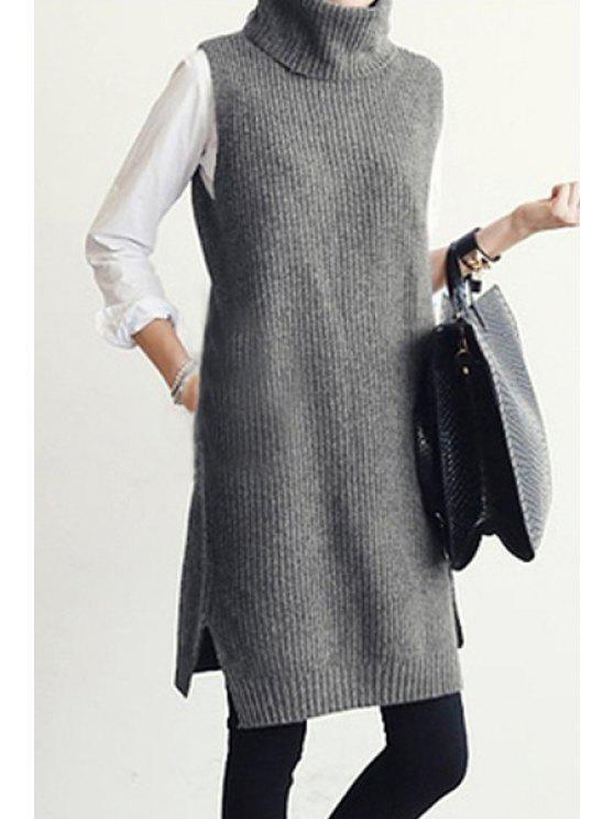 Ärmelloser Grau Pullover  mit Rollkragen - Grau M