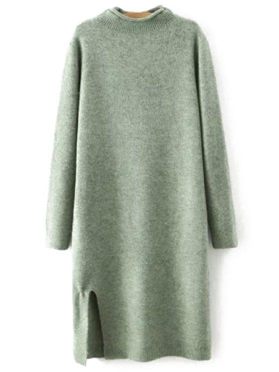 buy Side Slit Stand Neck Long Sleeves Sweater Dress - GREEN L