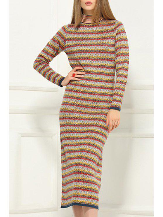 hot Stripe Stand Neck Long Sleeve Sweater Dress - YELLOW 2XL