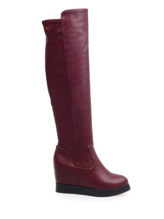 452f0e1da6cb 41% OFF] 2019 Hidden Wedge Solid Color Knee-High Boots In RED | ZAFUL