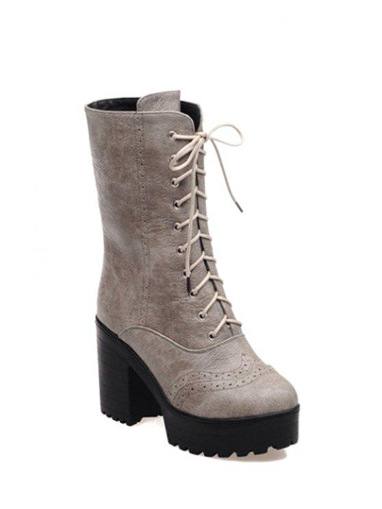 409ccfba908 40% OFF  2019 Engraving Platform Chunky Heel Mid-Calf Boots In GRAY ...