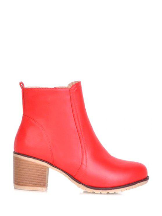 new Solid Color Zip Chunky Heel Short Boots - RED 39