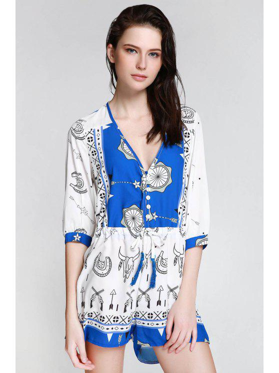 best Ethnic Print Plunging Neck 3/4 Sleeve Playsuit - BLUE AND WHITE S