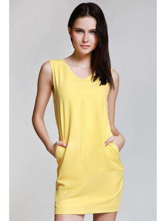 shops Sleeveless Spliced Metal Button Yelllow Dress - YELLOW XL