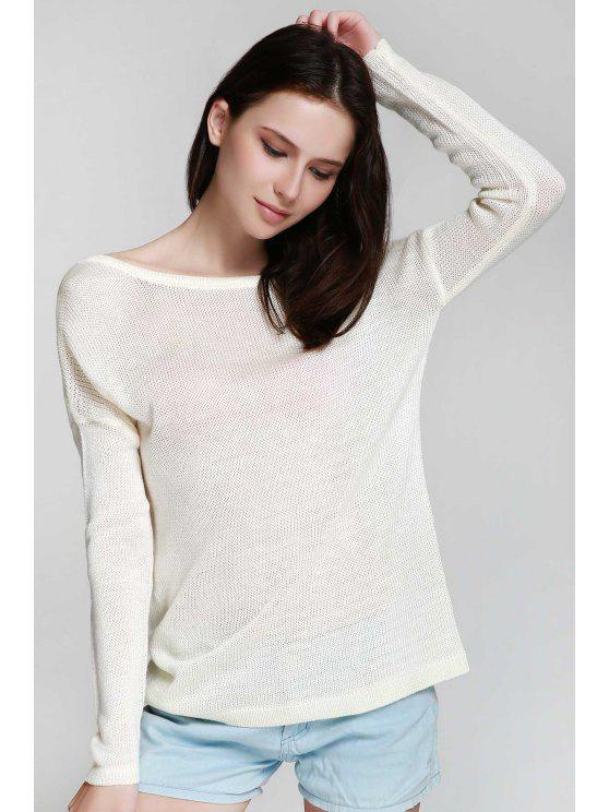 Un hombro blanco Backless suéter de manga larga - Blanco Un tamaño(Montar tam