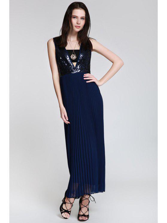 women Deep V Neck Sequins Backless Dress - CADETBLUE S