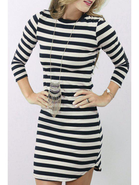 f464a1f90412a 27% OFF] 2019 Striped Elbow Patch Round Collar T-Shirt Dress In ...