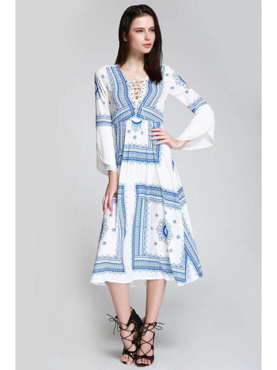 ladies Floral Print Tie Up Long Sleeve Dress - BLUE AND WHITE S