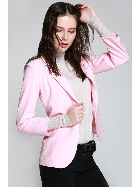 Blazer Rose à Col Tailleur à Bouton Simple - ROSE PÂLE M