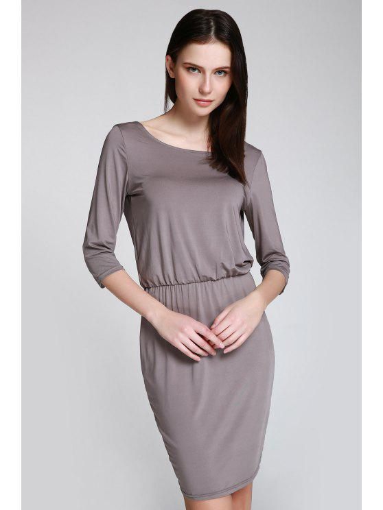 Open Back 3/4 Sleeve Bodycon Dress - Gris M
