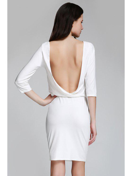 outfit Open Back 3/4 Sleeve Bodycon Dress - WHITE L