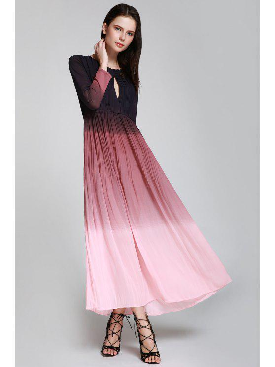 2019 Keyhole Ombre Color Prom Dress In Pink Xl Zaful