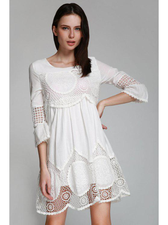 outfit Hollow White 3/4 Sleeve Dress - WHITE S