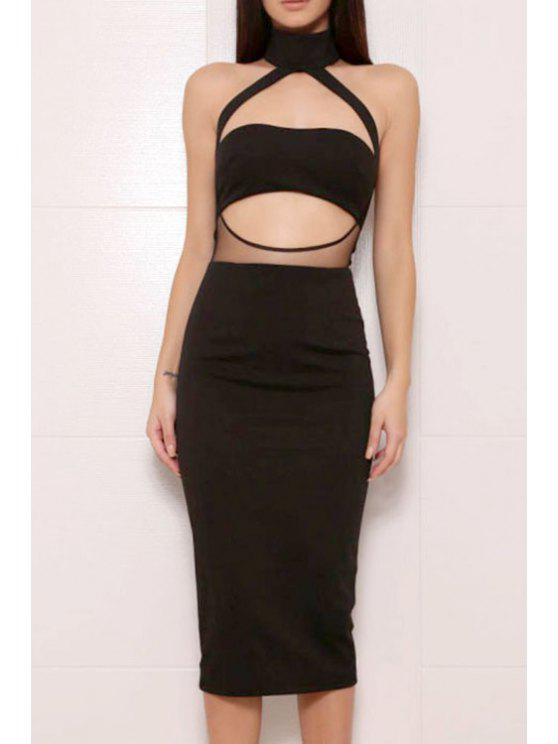 hot Voile Spliced Halter Solid Color Cut Out Club Dress - BLACK S
