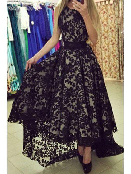 fancy Lace Sleeveless A Line Maxi Dress - BLACK M
