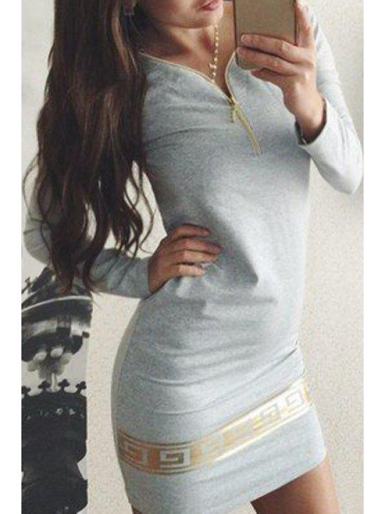 best Printed V-Neck Long Sleeve Zipper Dress - GRAY XL