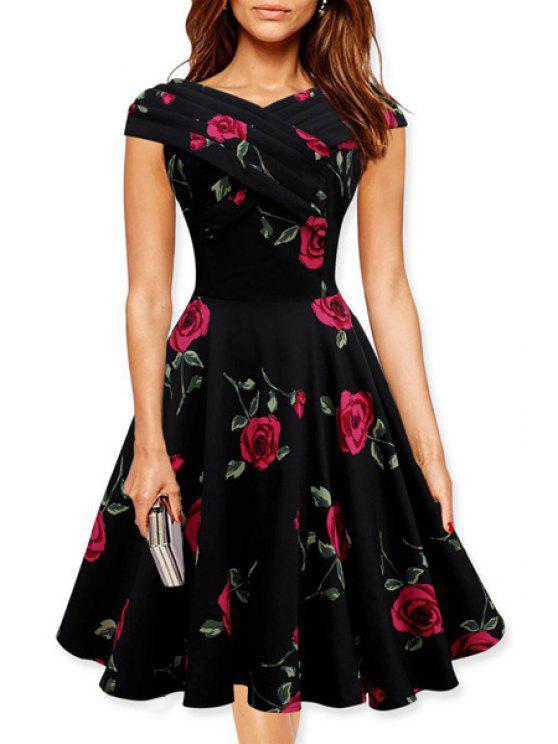 latest Floral Print Slash Neck A Line Dress - RED L