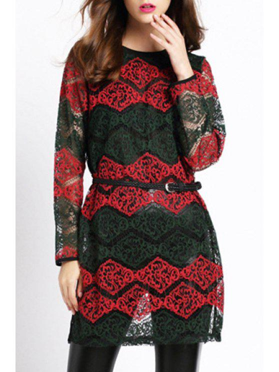 ladies Lace Hook Round Neck Long Sleeve Dress - RED L