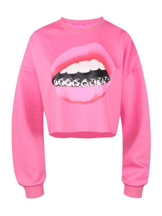 best Lip Print Long Sleeve Cropped Sweatshirt - PLUM M